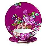 Wedgwood 3 Piece Tea Garden Tea Plate Set, Raspberry