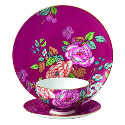 - Wedgwood 3 Piece Tea Garden Tea Plate Set, Raspberry