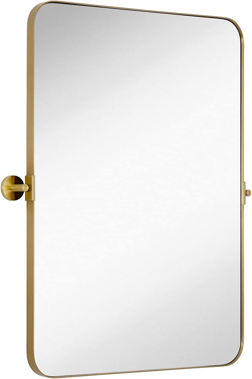 Hamilton Hills Gold Metal Surrounded Round Pivot Mirror Silver Backed Adjustable Moving Tilting Wall Mirror Adjustable 22 x 30