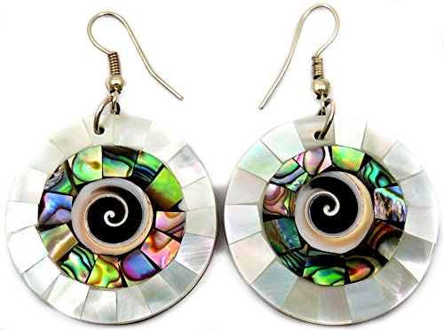 Abalone Earrings with Mother of Pearl and Shiva Eye Handmade Dangle Drop Natural Shell Women Jewelry CA285-A