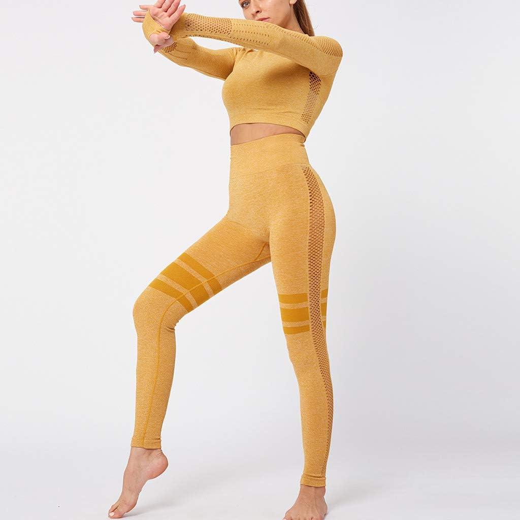 Italily Donna Tuta da Ginnastica 2 Pezzi Top E Pantaloni Vita Alta Abbigliamento Sportivo Estivo Maniche Lunghe Tute Aderenti Ragazza Skinny Legging Shirt Sportwear per Yoga Jogging Fitness