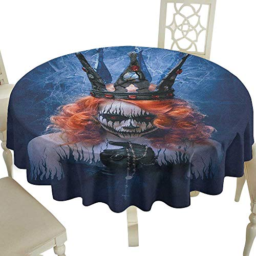 Plaid Round Tablecloth 50 Inch Queen,Queen of Death Scary Body Art Halloween Evil Face Bizarre Make Up Zombie Navy Blue Orange Black Great for,Party & More]()