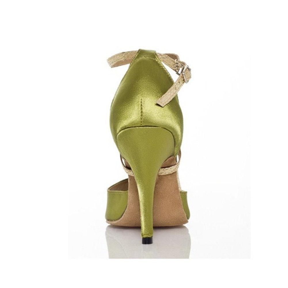 GUOSHIJITUAN Frauen Latein Tanzschuhe Satin Leise Unten Unten Unten High Heel Salsa Dancing Schuhe Tango Soziale Tanzschuhe 707804