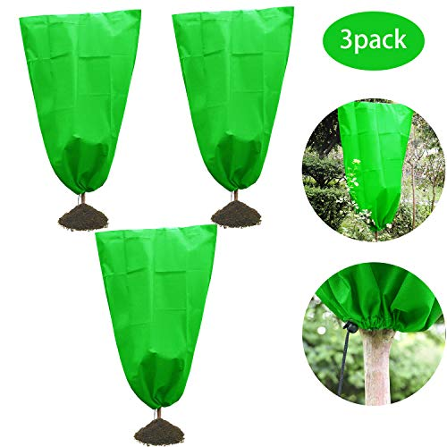 Alpurple Winter Drawstring Plant Covers – Warm Plant Protection Cover Bags, Frost Cloth Blanket Protecting Fruit Tree Potted Plants from Freezing Animals Eating (2.6 x 3.2ft 3 PCS)