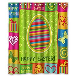 Welcome!Waterproof Decorative Cartoon Happy Easter Shower Curtain