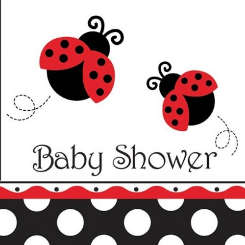 Creative Converting Ladybug Fancy Baby Shower Luncheon Napkins, 16-Count