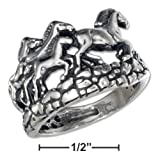 Sterling Silver Spoon Ring with Flowers and Antiqued Finish