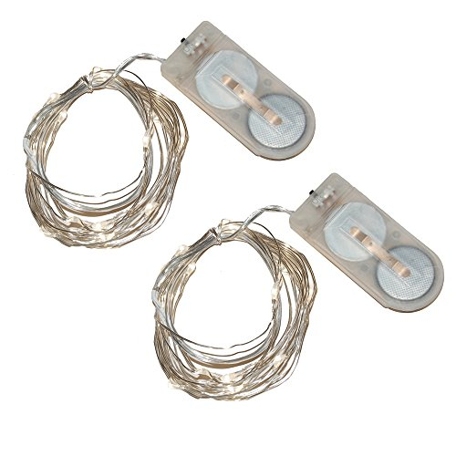 Lumabase 64002 2 Count Battery Operated Submersible 80 Mini String Lights, Cool White -
