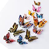 Wall Stickers,GOODCULLER 12pcs 3D Butterfly Design Decal Art Luminous Non-toxic Room Magnetic Background Decorated Decal Home Decor
