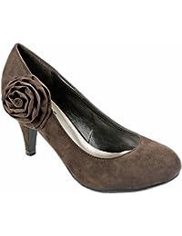 Women Mavis Faux Suede Round Toe Low Heel Flower Simple...