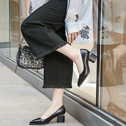 elegante La Puntiaguda talon 35 Treinta tacon Transpirable Sandalias y de Zapatos alto zapatos Moda Solo 6cm zapatos Black los de cinco mujer AJUNR Rough Joker 5wqO7PCx