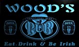 pa1078-b Wood's Irish Shamrock Home Pub Bar Beer Neon Light Sign