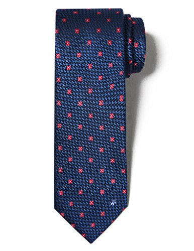 Origin Ties Men's Fashion 100% Silk Handmade Bee Floral Jacquard Unique 2.5 Skinny Tie Navy Blue and Red