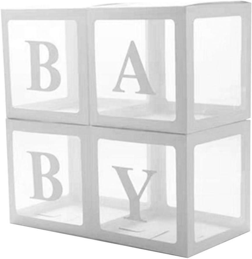 whelsara 4 Unids/set DIY caja transparente globo de látex bebé favorito bloque niño niña bebé ducha boda cumpleaños fiesta decoración fondo, bebé frugal