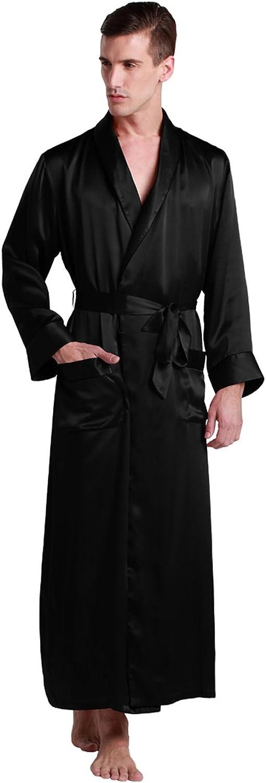 LilySilk Mens Silk Robe 22 Momme Bath Robes Luxury Contra Full Length 100 Mulberry Silk