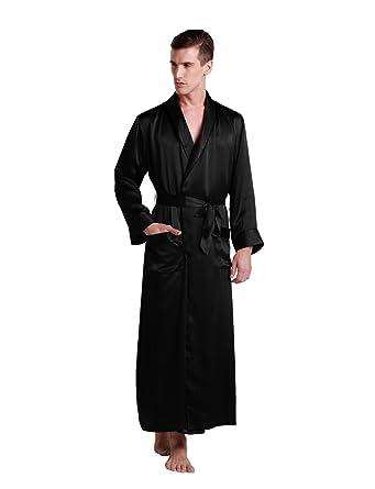 3360779182 LilySilk Men s Silk Robes Long Pure Mulberry 22 Momme Contra Full Length  Luxury Silk Bathrobe Adjustable