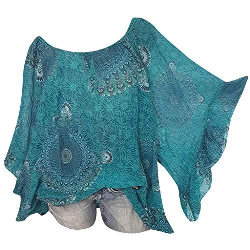 (Witspace Women Casual Boho Print Long Bat Sleeve Loose Shirt Cold Shoulder Blouse Tops)