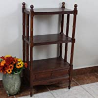 International Caravan ZM-3800-ST-IC Furniture Piece Carved Wood Windsor 3-Tier Bookshelf