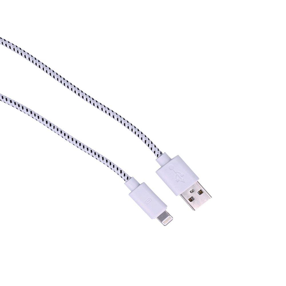 Electr/ónica Rey/® Cable de Carga y Datos USB 2.0 para IPHONE IPOD o IPAD Nylon Antienredos de 3 Metros en Blanco