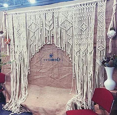 (Kaputar Bohemian Macrame Wall Hanging Decor Boho Chic Style Macrame Curtain & Macrame Backdrop Arch 85