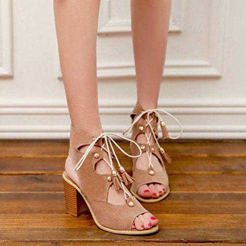 Cage Chaussures Up Lace Strappy Talon Sandales Haut Gland Toe Sandales Romaine Beige Peep Femmes en Gladiateur T1PqBOxPS
