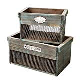 SLPR Wooden Crate with Metal Plate (Set of 2)   Rustic Farmhouse Country Style Antique Old Fashioned Perfect for Floral Arrangements Gardening Wedding Vintage Country Chic Wood and Wire Box