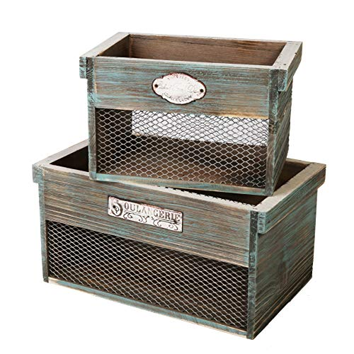 SLPR Wooden Crate with Metal Plate (Set of 2) | Rustic Farmhouse Country Style Antique Old Fashioned Perfect for Floral Arrangements Gardening Wedding Vintage Country Chic Wood and Wire Box from SLPR