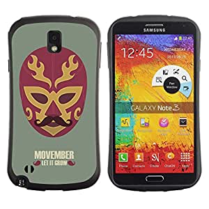 Hybrid Anti-Shock Bumper Case for Samsung Galaxy Note 3 / Cool Movember Mexican Mask