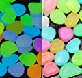WUZJ Colorful Glowing Garden Pebbles Decorative Luminous Stone Glow in the Dark for Walkways Decor Plants Pot Fish Tank Aquarium etc