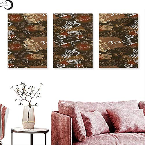 Mannwarehouse Modern Living Room Home Office Decorations Coffee Culture Theme with Italian Espresso French Press Tea Artwork Triptych Photo Frame Caramel Brown and Redwood W 20