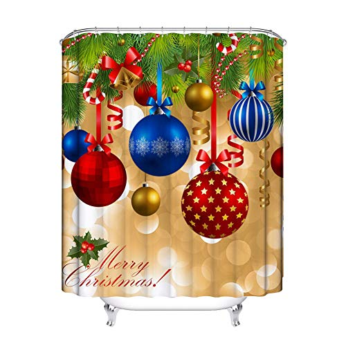 Mumeson Christmas Holiday Home Decor Shower Curtain Star Ornaments Christmas Balls Pendants Pattern Bathroom Shower Curtain Set with Hooks ()