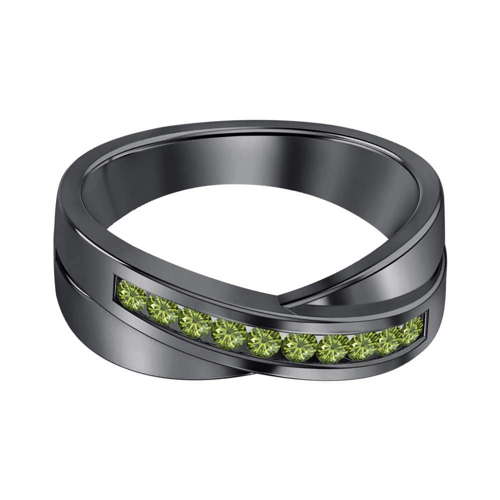 SVC-JEWELS 14K Black Gold Over 925 Sterling Silver Round Cut Green Tourmaline Criss Cross X Wedding Band Ring Men