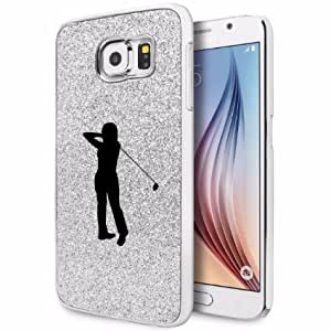 Samsung Galaxy S6 Glitter Bling Hard Case Cover Female Golfer (Silver)