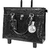 Bugatti Black Womens Embossed Croco Rolling Briefcase Laptop, Best Gadgets
