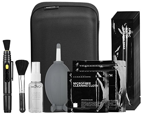 Lens Optic Cleaning Kit (Movo Deluxe Essentials DSLR Camera Cleaning Kit with 10 APS-C Cleaning Swabs, Sensor Cleaning Fluid, Rocket Air Blower, Lens Pen, Soft Brush, 2x Small & 2x Large Microfiber Cloths & Carrying Case)