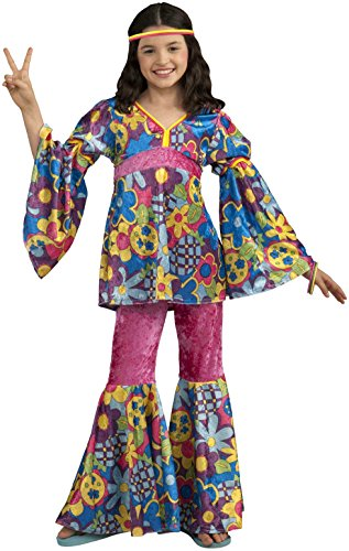 Forum Novelties Deluxe Designer Collection Flower Power Costume, Child (Bottom Hippie Dress)