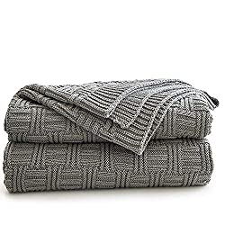 Longhui Bedding Large Cotton Grey Knit Throw Blanket For Bed Couch Sofa Home Decorative Soft Lightweight Knitted Blankets Gray Color 60 X 80 Inch Oversize Blankets