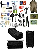 4 Person Supply 5 Day Emergency Bug Out SOS Food Rations, Drinking Water, LifeStraw Personal Water Filter, First Aid Kit, Tent, Blanket, Duffel Bag, Tan Poncho + Essential 21 Piece Survival Gear Set
