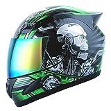 1STORM MOTORCYCLE BIKE FULL FACE HELMET MECHANIC SKULL - Tinted Visor GREEN