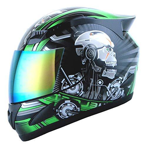 1STORM MOTORCYCLE BIKE FULL FACE HELMET MECHANIC SKULL - Tinted Visor GREEN (Best Womens Motorcycle Helmets Reviews)