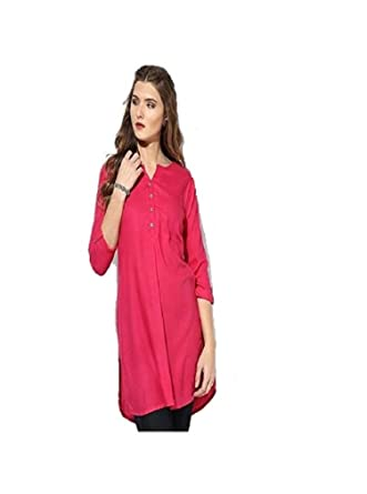 db7851fcf1c VK Traders Women s Rayon Short Kurti for Casual Meetings and Places - Made  of Quality Fabric Stylish Kurti for Girls - Pink  Amazon.in  Clothing   ...