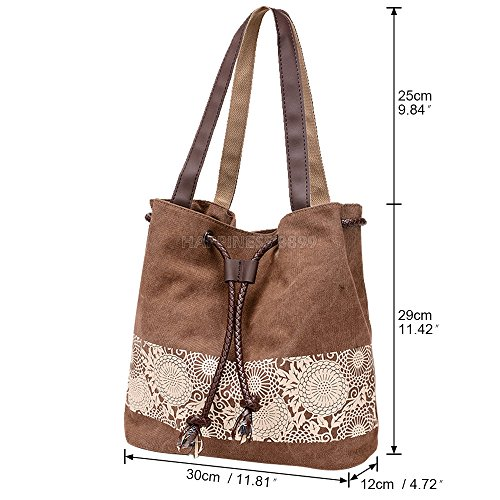 Vintage Brown Canvas Handbag Wocharm Hobo Bohemian Totes Bag Shoulder Women's Ladies wHIKgBxqP