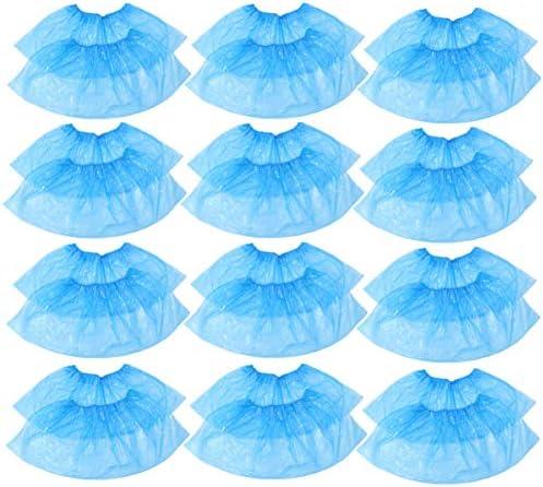 PIXNOR Overschoenen eenmalig plastic wegwerpafdekkingen schoenverpakking van 100 blauw
