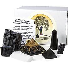 Beverly Oaks Charged Black Tourmaline Crystal Complete Kit - Tourmaline Stone For EMF Protection and Grounding - Three Raw Tourmaline Chunks, Orgonite Pyramid, Selenite, Gemstone Pyramid and Obelisk