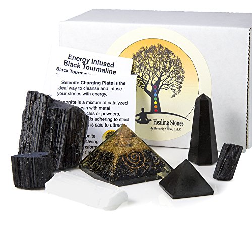 Black Tourmaline - Beverly Oaks Charged Black Tourmaline Crystal Complete Kit - Tourmaline Stone for EMF Protection and Grounding (Deluxe)
