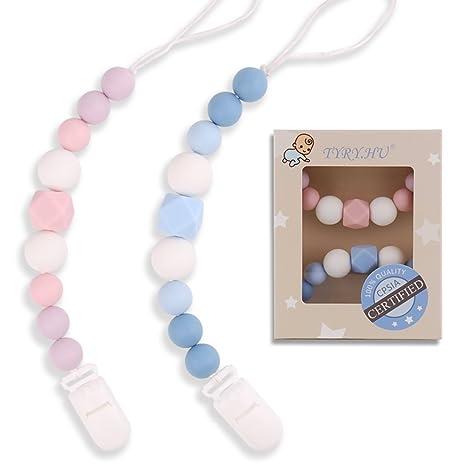 0e0e113227c4 HU Clips para chupete de silicona para bebé Cadenas de chupete Perlas de  dentición