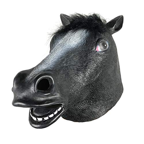Horse Mask/Horse Head Mask/Latex Animal Mask for Halloween,Party,Gifts,for Adult & Kids Black]()