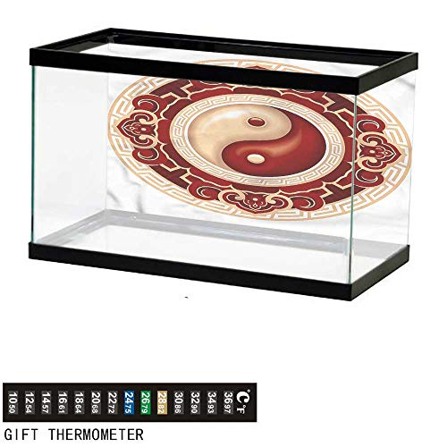 Suchashome Fish Tank Backdrop Ying Yang,Traditional Cultural,Aquarium Background,24