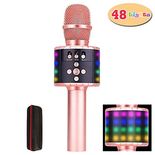 Amazmic Wireless Handheld Karaoke Microphone With Speaker, Built-in 48 LED Lights, Portable Bluetooth Karaoke Machine for Smartphone, Kids Birthday Party, Home KTV (Rose Gold)