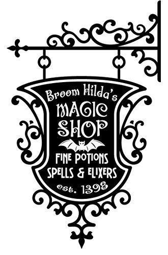 YINGKAI Happy Halloween Broom Hildas Magic Shop Sign Living Room Vinyl Carving Wall Decal Sticker for Halloween Party Home Window -